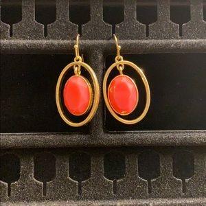 Liz Claiborne Coral & Gold Dangling Earrings